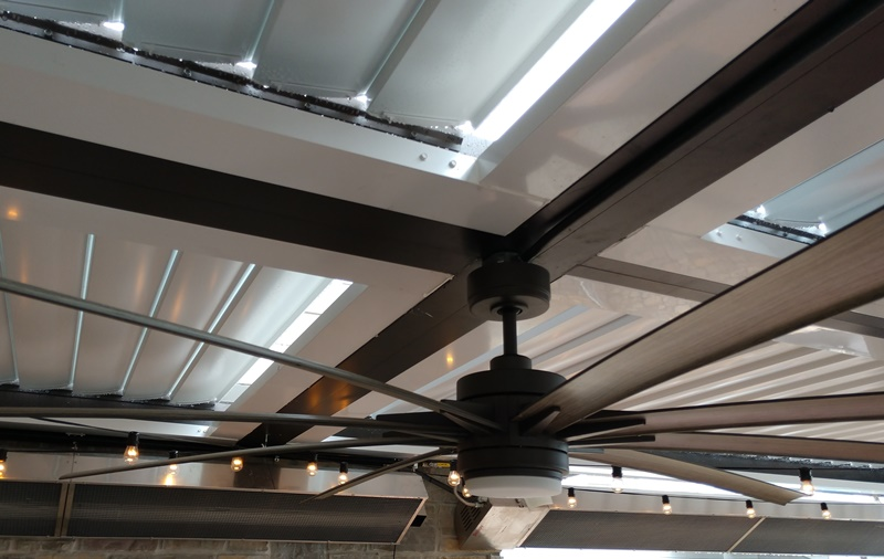 louvered roof integrated gutter system